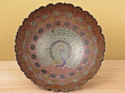 Vintage Peacock Cloisonne Enamel Bowl Scalloped Edge Fabulous Bird R
