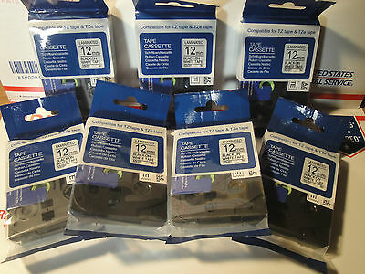7  BROTHER COMPATIBLE BLACK & WHITE LABEL TAPE  TZ 231 TZe 231 P-Touch 26.2ft on Rummage