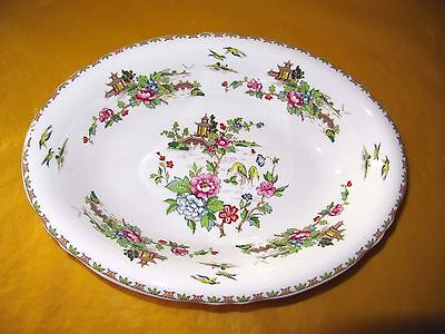 """Crown Staffordshire Pagoda Oval Serving Plates/Dishes long 10.5"""", ~Wear on gold~"""