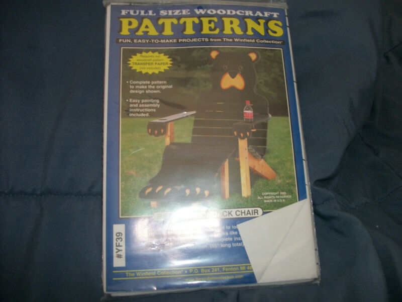 Winfield Collection Woodworking Pattern Bear Adirondack Chair NEW