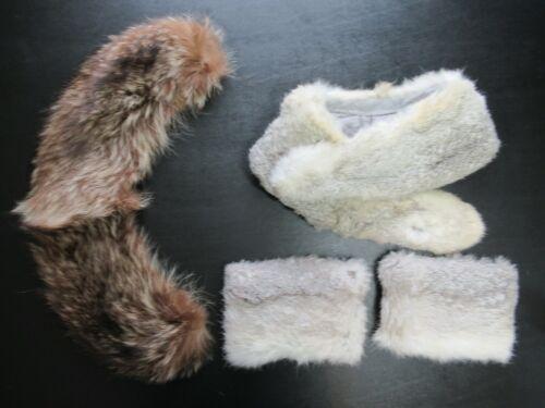 Vintage Fur Lot Collar Cuffs Brown Gray 50s 60s