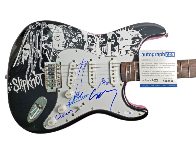 Slipknot Autographed Signed Custom Photo Guitar ACOA