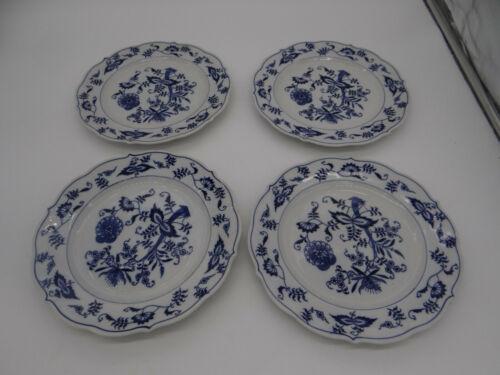 "Blue Danube Set of 4 Salad Plates 8 3/4"" Blue White Ribbon Banner"