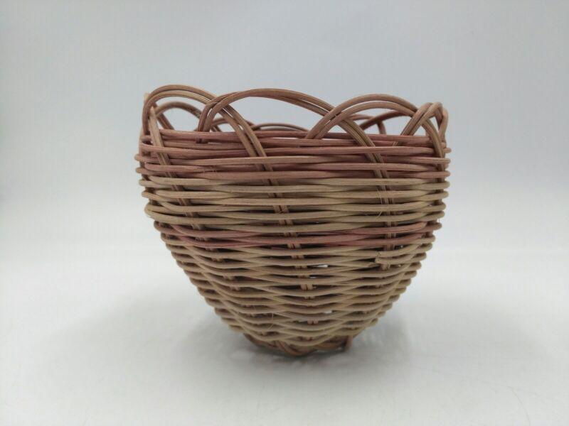 "Native American Hand Made Double Weave Basket Cherokee Oklahoma 4"""
