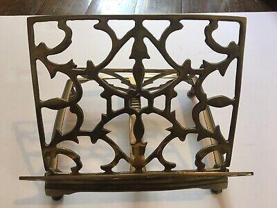 Vintage Brass Book Stand Holder Rack Easel Adjustable Folding Bible Cookbook