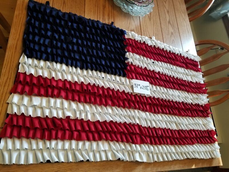 "Amish Handsewn American Flag Table Runner / Curtain / Rug 37"" x 23 1/2"""