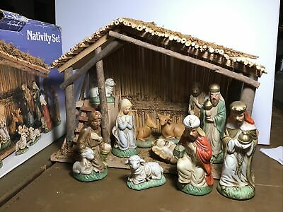 Vintage Sears Christmas Nativity Set 11 Figures & Wooden Stable 97890 Holiday