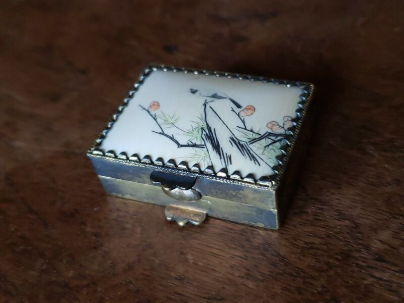 Antique Chinese Export Vermeil Silver & Painted Bone Lid Pill Box Snuff Opium