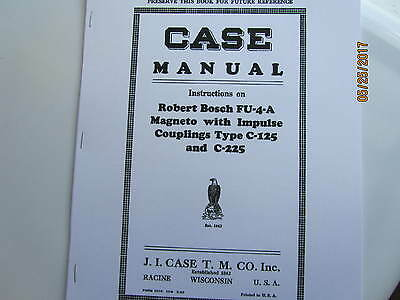 1929 J I Case Robert Bosch Fu-4-a Magneto Instruction Manual