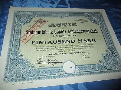 histor. AKTIE , Steingut Fabrik Colditz / Sachsen , 1000 Mark , April 1923 /#/ 4