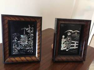 2 small framed Japanese artworks on stands $70 Bundall Gold Coast City Preview