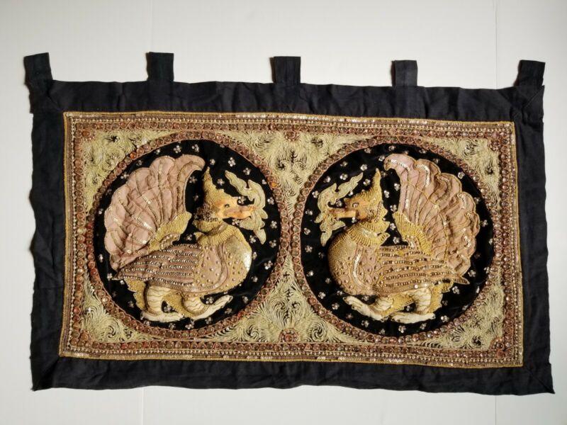 Vintage Kalaga Tapestry Fly Dragon Embroidered Wall Art Asian Burmese Thai India