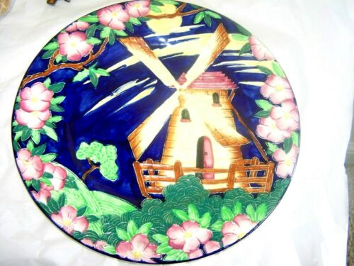 "Maling Pottery Majolica Windmill 11 1/8"" Charger Plate Beautiful COLOR"