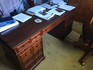 Office Desk double pedestal, chair, bookcases