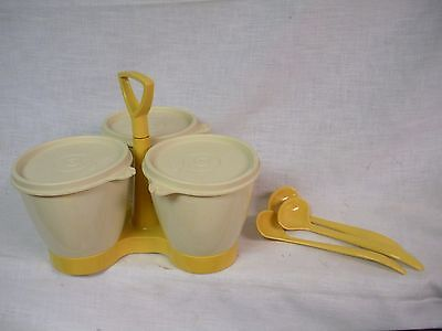 Vtg Tupperware Condiment Caddy Set -  Harvest Gold Ivory with Container/Lids