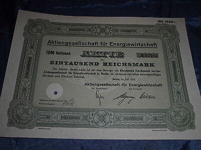 482 :histor.Wertpapier / Aktie , Energiewirtschaft , 1000 Reichsmark , Juli 1937
