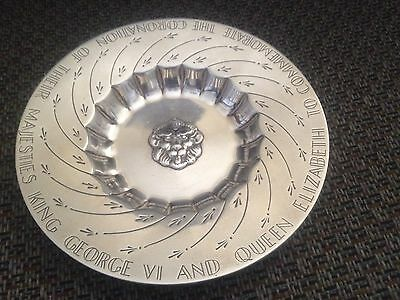 c1936 Sterling Silver Bowl Plate Coronation of King George VI & Queen Elizabeth