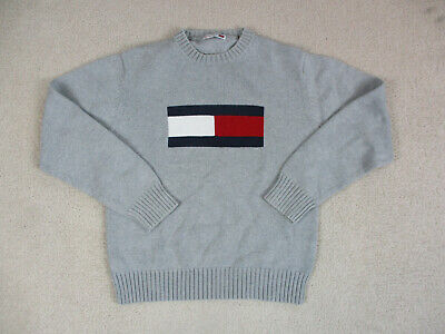 VINTAGE Tommy Hilfiger Sweater Womens Medium Gray Big Flag Knit Ladies 90s A03*