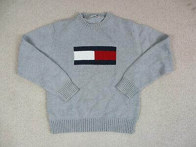 VINTAGE Tommy Hilfiger Sweater Womens Medium Gray Big Flag Knit Ladies 90s A03*