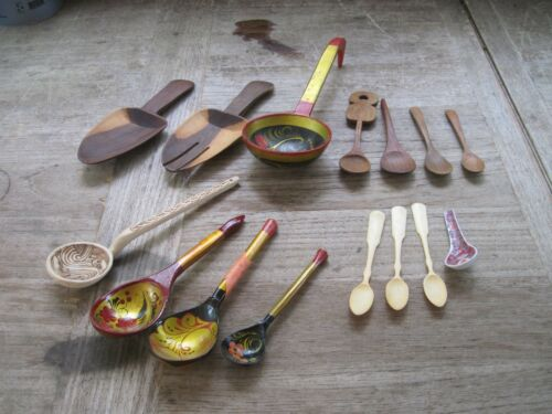 Collection of 15 Mostly Wood Serving Spoons, Some Very Unique & Colorful