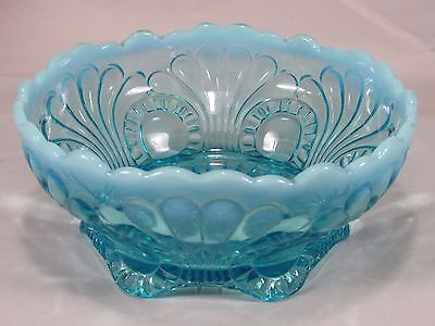 Vintage Jefferson Glass Blue Opalescent Tokyo Pattern Footed Bowl Dish,Shell 7""