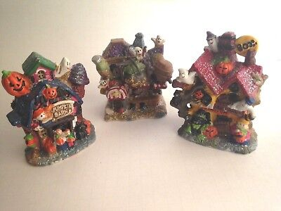 Halloween Ceramic Figurine 3 Haunted Houses Boo Station & Bar Pumpkin Barn 5