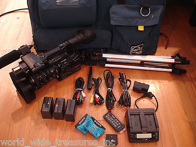 Used, Sony HDV HVR-Z7U 3CMOS MiniDV Camcorder Porta Brace Light Case Mic Tripod Cables for sale  Midland Park