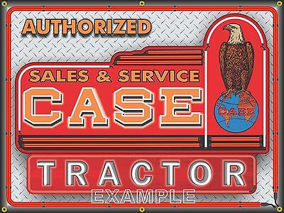 CASE TRACTOR NEON DEALER STYLE PRINTED BANNER SIGN GARAGE ART NEW DESIGN 4' X -