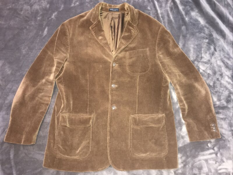Vintage POLO Ralph Lauren ~ Thick Wide Wale Brown Corduroy Sport Coat ~ XXL