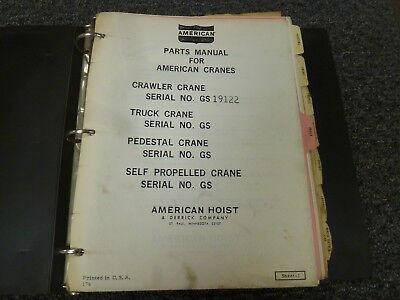 American Model 7260c Lattice Boom Crawler Crane Parts Catalog Manual Book