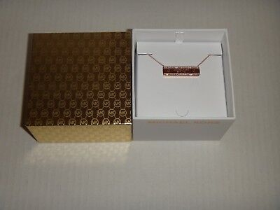MICHAEL KORS Women's MK Logo Plaque Rose Gold Necklace Crystals MKJ5961791 +BOX