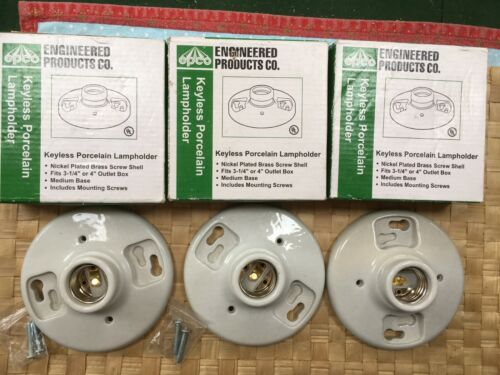 3 NEW CERAMIC PORCELAIN LAMP BASES SOCKETS IN BOXES EDISON BASE light bulb