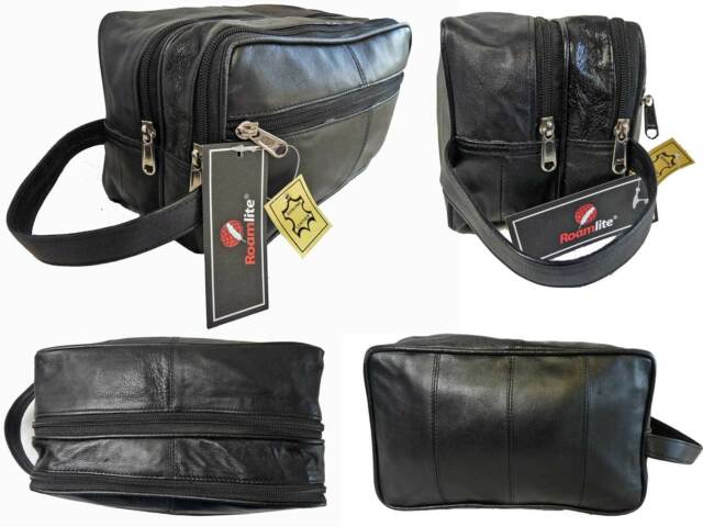 Soft Genuine Leather Toiletry Toiletries Wash Bag Travel Gym Bags Roamlite RL215