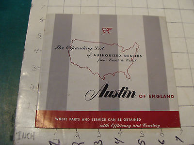 vintage Original auto dealership item: AUSTIN of England Authorized Dealers
