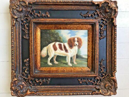 Vintage Antiqued Cocker Spaniel Dog Figure Signed Oil Painting w/ Gorgeous Frame