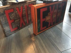 Custom painted light up Exit signs! Look!