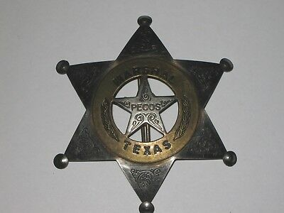 ANTIQUE TEXAS MARSHAL PECOS POLICE BADGE PINBACK STAR PIE PLATE BRASS RING WEST