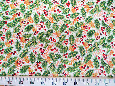 Discount Fabric Quilting Cotton Christmas Holly Red, Green, Gold and White T22](Christmas Discount)