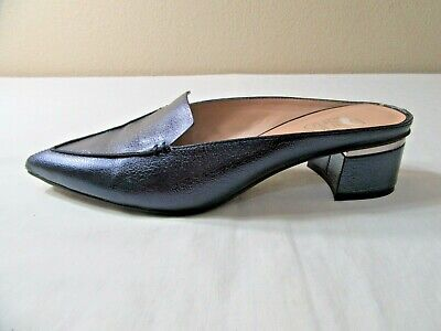 Franco Sarto Genuine Leather Mules Navy Irredescent Flat Loafer Size 7.5M