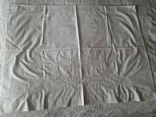 Antique Pair French Embroidered Linen Pillow Shams (Museum Quality)