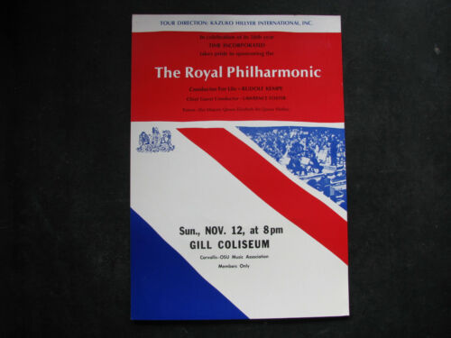 1961 ROYAL PHILHARMONIC ORCHESTRA Concert Poster Window Card vtg RUDOLF KEMPE