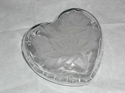 Frosted Glass Heart Shape 2Pc. Dish -Rose Design With Lid Or 2 Seperate Bowls