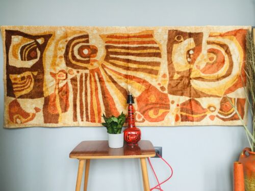 Vintage geometric wall hanging tapestry, Modern velvet rug from Hungary 1970s