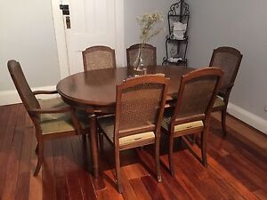 Vintage 7 Piece Wooden Dining Table Summer Hill Ashfield Area Preview