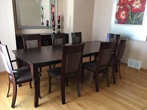 Beautiful cappuccino dining room table with 8 chairs and buffet