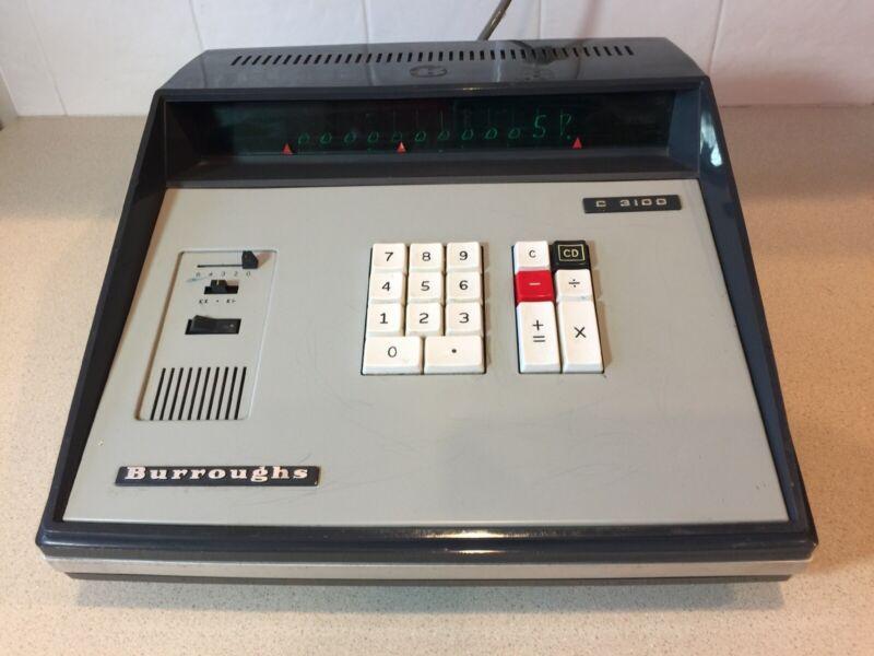 Vintage BURROUGHS  C 3100 Adding Machine CALCULATOR 1970