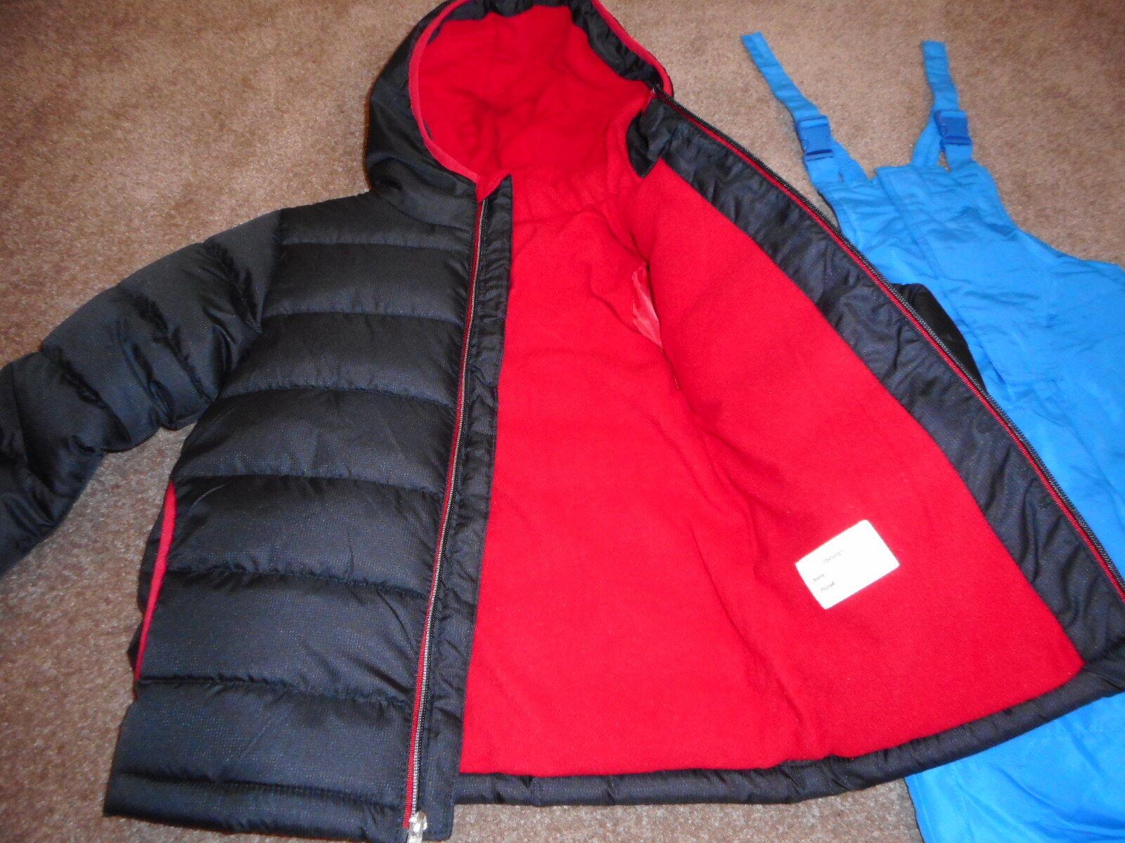 Snow Ski Bibs Boys Winter Jacket Snowsuits Coats Black/Red J