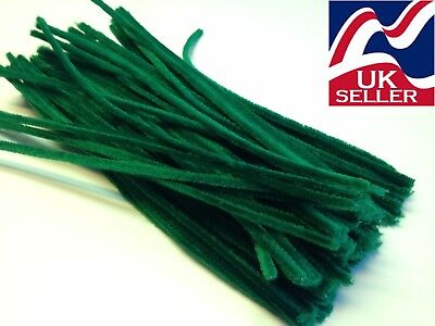 10-1000 GREEN chenille craft stems pipe cleaners 30cm long,6mm wide