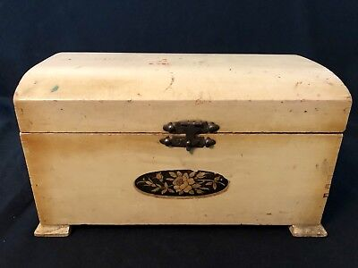 Blonde Wood Box (Vintage McGraw Box Company Jewelry Box Wood Hidden Drawer Trinket Antique)
