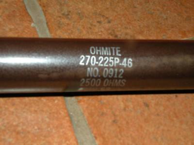 Ohmite Lug Power Resistor 270-225p-46 225 Watt 2500 Ohm No. 0912